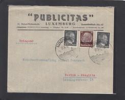 PUBLICITAS,LUXEMBURG.BRIEF MIT HITLER/HINDENBURG MISCHFRANKATUR. - 1940-1944 Deutsche Besatzung