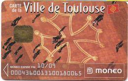 MONEO CARTE A PUCE PORTE-MONNAIE ELECTRONIQUE  VILLE DE TOULOUSE STATIONNEMENT  TRACES USAGE - Frankrijk