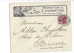 22069 - Lettre Rédaction De L'Impartial La Chaux De Fonds 1914 Pour Bienne - Suisse