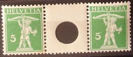 Schweiz Suisse 1909: Zwischen-Steg Gelocht Pont Avec Trou Zu S3 Mi WZ3IA * MLH (Zu CHF 60.00 -50%) - Se-Tenant