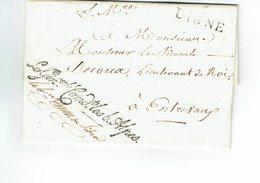 DIGNE MARQUE 5 DIGNE 21 JUILLET 1817 DU GENERAL COMMANDANT LES BASSES ALPES ARMEE DU ROI - Marcofilia (sobres)