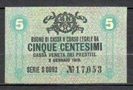 617-Italie Cassa Veneta Dei Prestiti Billet De 5c 1918 Neuf - [ 1] …-1946 : Royaume