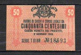 617-Italie Cassa Veneta Dei Prestiti Billet De 50c 1918 Neuf - [ 1] …-1946 : Kingdom