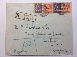SWITZERLAND 1921 Registered Luzern Cover To London England - Covers & Documents