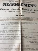 AFFICHE  WW1;RECENSEMENT DES  CHEVAUX;JUMENTS;MULETS ET MULES  ANNÉE 1917  ;PREFECTURE DE LA CREUSE ; - Posters