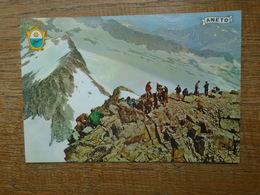 """Espagne , Pirineo Aragones , Benasque ( Huesca ) Paso De Mahoma En El Pico De Aneto """""""" Carte Animée Alpinistes """""""" - Huesca"""