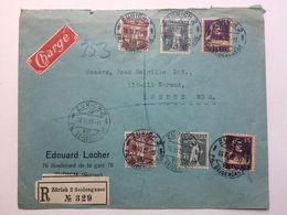 SWITZERLAND 1919 Registered Cover Zurich To London With Charge Sticker - Suisse