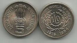 India 5 Rupees 1994. KM#155  World Of Work - 75 Years Of ILO High Grade - Inde