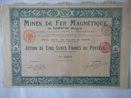 MINES De FER MAGNETIQUE De VASPATAK 1902    HONGRIE - Actions & Titres