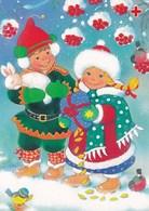 Postal Stationery - Children Holding Present Bunny - Birds - Bullfinches - Red Cross 1995 - Suomi Finland - Postage Paid - Finlandia