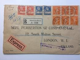 SWITZERLAND - 1925 Registered Express Cover Schatzalp Davos To England Multi-stamped With `Express Fee Paid` Cachet - Switzerland
