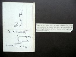 Autografo Felice Lattuada Cartolina Milano Anni '30 Musica Opera Morimondo - Autografi
