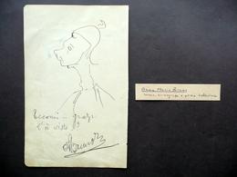 Autografo Anna Maria Bruno(?) Disegno Caricatura Firma Ballerina Danza Mimo - Autografi