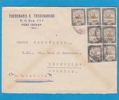 LETTRE DE PORT SOUDAN AFFRANCHIE AVEC 7 TIMBRES DE 5 MILLIÈMES POUR BRUXELLES. - Sudan (...-1951)