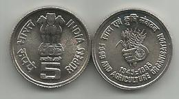 India 5 Rupees 1995. KM#157 50 Years Of FAO High Grade - Inde