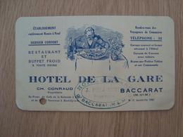 CARTE DE VISITE / FACTURE HOTEL DE LA GARE CH. CONRAUD BACCARAT - Visitekaartjes