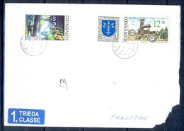 K763- Postal Used Cover. Posted From Slovensko Slovakia To Pakistan. Tree. Plant. Flower. Building. - Slovakia