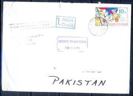 K766- Postal Used Cover. Posted From Slovensko Slovakia To Pakistan. Map. - Other