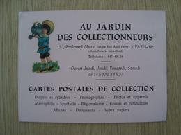 CARTE DE VISITE CARTE POSTALE AU JARDIN DES COLLECTIONNEURS PARIS - Visiting Cards