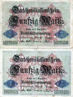 Lot De 2 Billets Allemand De 50 Marks Du 5 Août 1914 - 7 Chiffres - [ 2] 1871-1918 : Duitse Rijk
