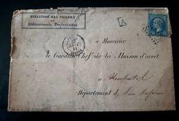 LETTRE BAGNE DE TOULON 1864 TRANSFERT PRISONNIERS FORCATS VOITURES CELLULAIRES ETRANGER EXPULSES PRISON ROUEN - Historical Documents