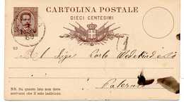 - CARTOLINA POSTALE Pour PALERMO 1.11.1889 - DIECI CENTESIMI Humbert 1er - - Entiers Postaux