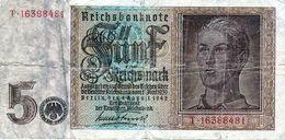 Billet Allemand De 5 Reichsmarks Du 1 Août 1942 - - [ 4] 1933-1945 : Tercer Reich