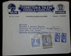 O) 1946 CIRCA-COLOMBIA, G. ANTONIO JOSE DE SUCRE SCT 530 5c, TEQUENDAMA FALLS-SOBREPORTE AEREO 30c, PALACIO DE COMUNICAC - Colombia