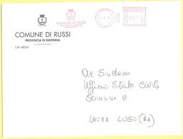 ITALIA - ITALY - ITALIE - 2002 - 00,77 EMA, Red Cancel - Comune Di Russi - Viaggiata Da Russi Per Lugo - Affrancature Meccaniche Rosse (EMA)