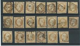 FRANCE - CLASSIQUES : LOT De 20 N°13A. La Plupart B à TB. Nuances, Oblitérations Losange Bâton. - 1853-1860 Napoleon III