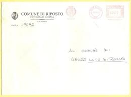 ITALIA - ITALY - ITALIE - 2002 - 00,77 EMA, Red Cancel - Comune Di Riposto - Viaggiata Da Riposto Per Lugo - Affrancature Meccaniche Rosse (EMA)