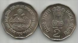India 2 Rupees 1993.   FAO BIO DIVERSITY WORLD FOOD DAY High Grade - India