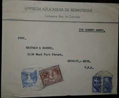 O) 1939 COLOMBIA, WATERFALL SOBREPORTE AEREO- TEQUENDAMA FALLS, COFFEE PICKING, PALACIO DE COMUNICACIONES, EMPRESA AZUCA - Colombia