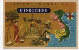 Lion Noir - L'union Française - Indochine - Carte Géographique - Advertising