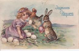 Thème Pâques Carte Gaufrée  Joyeuses Pâques Enfants Poule Lapins œufs - Pascua