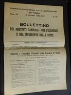 3.1) CONSIGLIO PROVINCIALE CORPORAZIONI ROMA BOLLETTINO PROTESTI FALLIMENTI MOVIMENTO DITTE 1940 - Decreti & Leggi