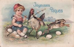 Thème Pâques Carte Gaufrée  Joyeuses Pâques Enfants Poule Lapins &  œufs - Pascua