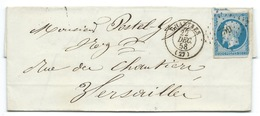 N°14 BLEU NAPOLEON SUR LETTRE / CHARTRES / POUR VERSAILLES 22 DEC 1858 - 1849-1876: Klassieke Periode
