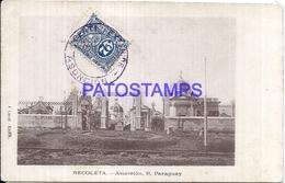 111986 PARAGUAY ASUNCION RECOLETA VISTA YEAR 1919 POSTAL POSTCARD - Paraguay