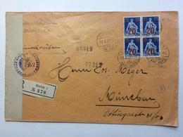 SWITZERLAND - 1921 Cover Registered Zurich To Munich With Censor Tape = Censor Cachets And Toblerone Vignette + 2 Scans - Schweiz