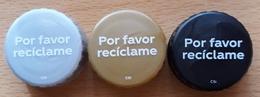 COCA COLA - ESPAÑA. 3 TAPONES POR FAVOR RECICLAME. USADO - USED. - Soda