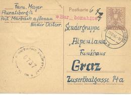 Marbach Vers Graz 1945 Sur Entier Postal. Censure - Entiers Postaux