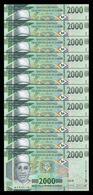 Guinea Lot Bundle 10 Banknotes 2000 Francs 2018 (2019) Pick New SC UNC - Guinee