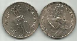 India 50 Paise 1972. 25th Anniversary  Of Independence Km#60 - Inde