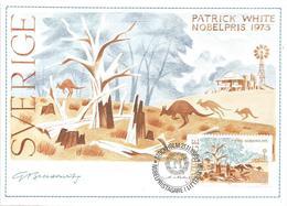 Sweden 1985 Stockholm Nobel Prize Literature Patrick White Australia Kangaroo Maximumcard - Nobelprijs