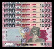 Sierra Leona Leone Lot Bundle 5 Banknotes 1000 Leones 2013 Pick 30b SC UNC - Sierra Leona