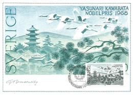 Sweden 1985 Stockholm Nobel Prize Literature Yasunari Kawabata Japan Crane Maximumcard - Nobelprijs