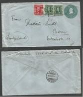 USA - Stationery. 1907 (Nov 11) Philadelphia - Switzerland, Bern. 1c Green/blesh Stationary Envelope + 3cdhs. Wavy Enter - United States