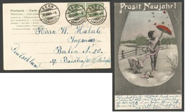 SWITZERLAND. 1906 (30 Dec) Bern - Germany, Berlin. New York Postcard Fkd 5c Green Pair Cds. Just Marvelous Item. - Switzerland