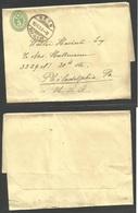 Switzerland - Stationery. 1907 (15 Nov) Bern - USA, Philadelphia. 5c Green Stat Wrapper, Cds. Fine Transatlantic Usage. - Switzerland
